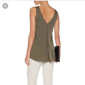Theory army green silk satin sleeveless top 🌸
